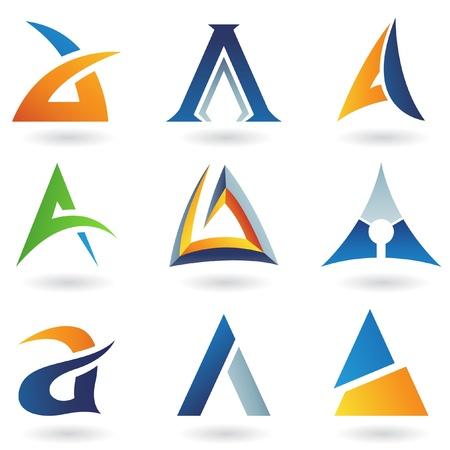 Vector illustratie van de abstracte iconen op basis van de letter A
