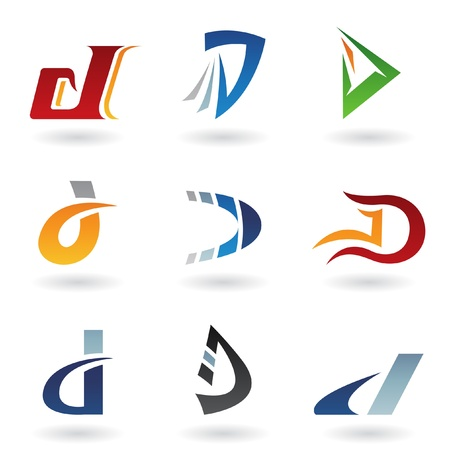 Vector illustration of abstract icons based on the letter D Vector