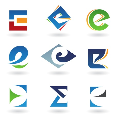 logos design: Vector illustration of abstract icons based on the letter E
