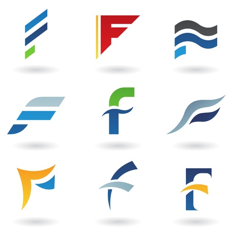 logos design: Vector illustration of abstract icons based on the letter F