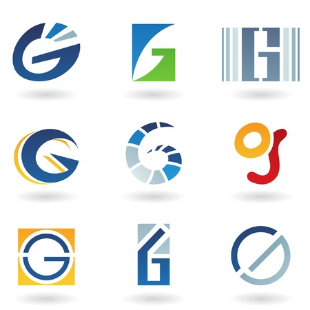 Vector illustration of abstract icons based on the letter G Vector