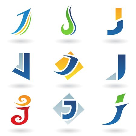 J: Vector illustration of abstract icons based on the letter J
