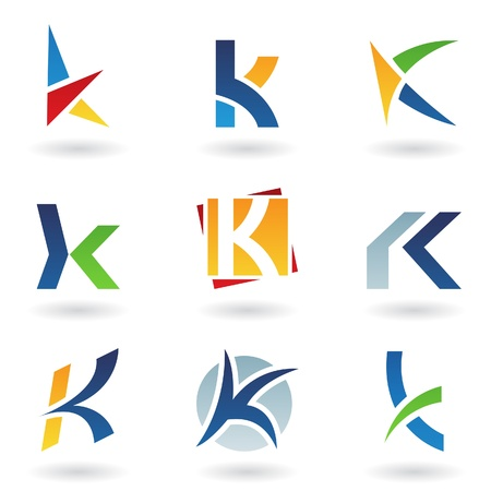 Vector illustration of abstract icons based on the letter K Vector
