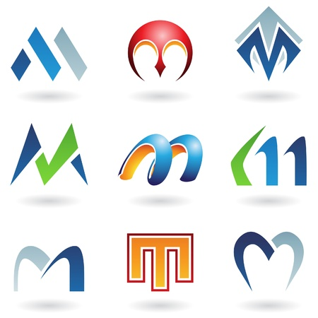 logos design: Vector illustration of abstract icons based on the letter M