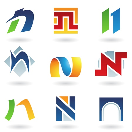Vector illustration of abstract icons based on the letter N Vector