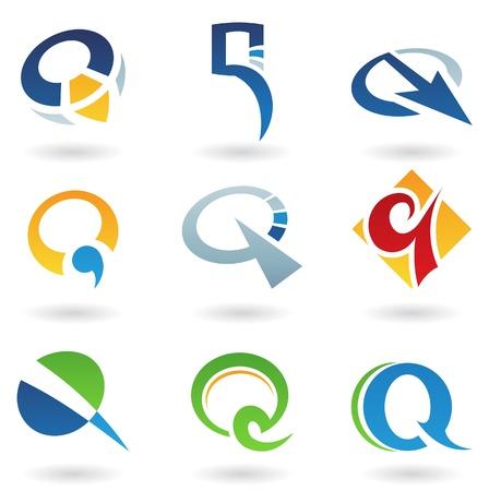 logos de empresas: Ilustraci�n vectorial de iconos abstractas basada en la letra q