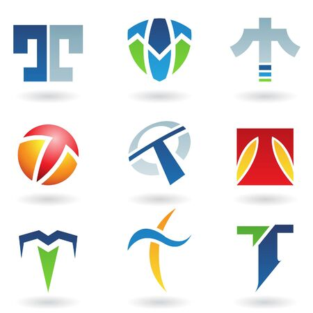 Vector illustration of abstract icons based on the letter T Vector