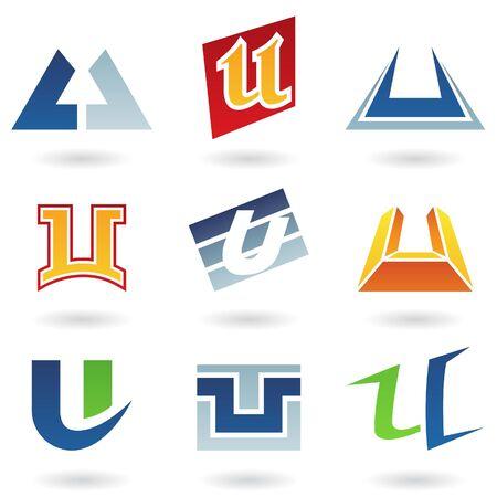 tipos de letras: Ilustraci�n de vector de iconos abstractas basada en la letra u