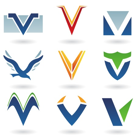 Vector illustration of abstract icons based on the letter V Vector