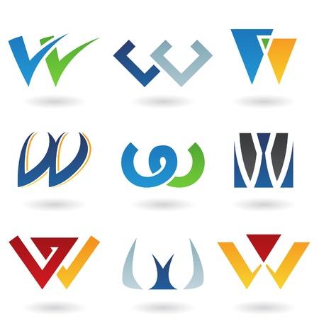letras negras: Ilustraci�n de vector de iconos abstractas basada en la letra w