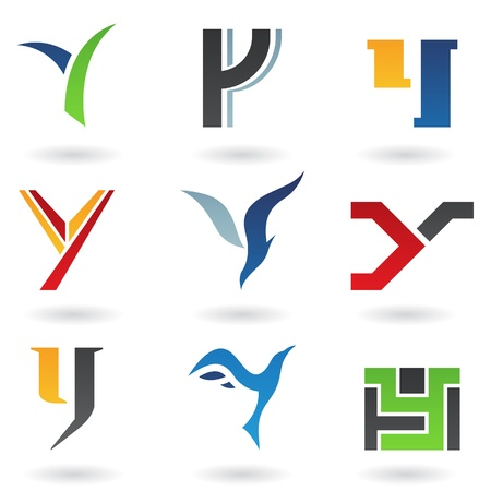 Vector illustration of abstract icons based on the letter Y Vector