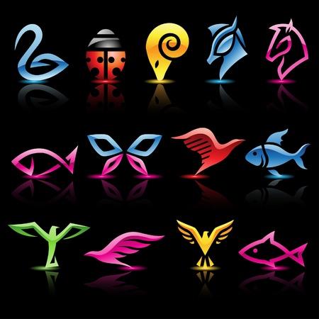 logo poisson: Illustration de color� abstraits ic�nes animales sur fond noir