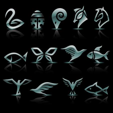 logo poisson: illustration de l'argent, des icônes d'animaux métalliques Illustration