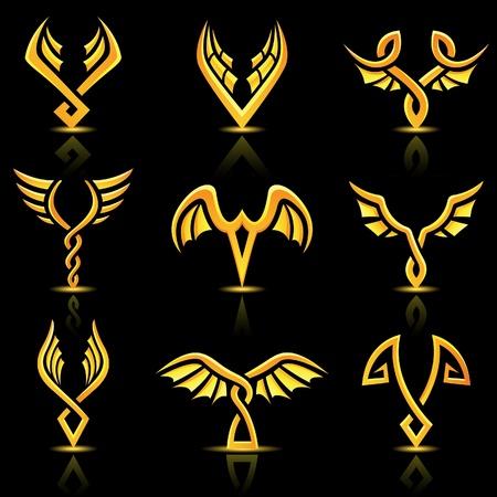 freedom logo: Ilustraci�n de oro brillantes alas abstractos