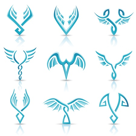 eagle symbol: illustration of blue glossy abstract wings