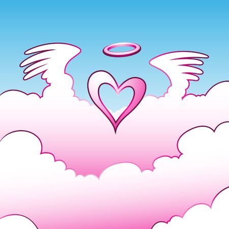 Illustration of Angel Heart over the Clouds Stock Vector - 10049800
