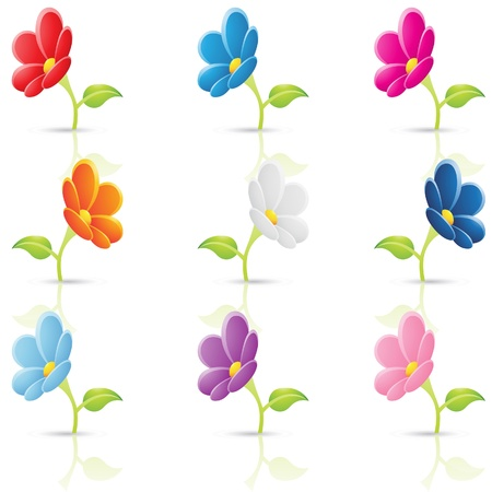 blue violet bright:  Illustration of a set of colourful flowers Illustration