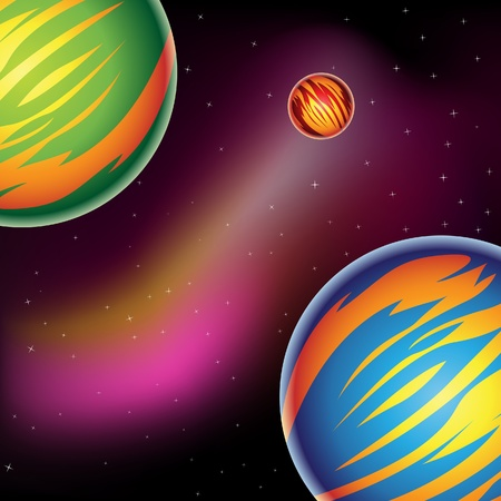 Illustration of Fantasy Planets in outer space Vector