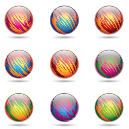 illustration of colorful, Glossy Planet like Spheres Stock Vector - 10049806