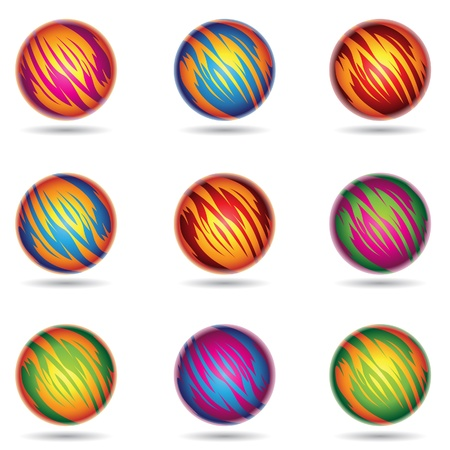 illustration of colorful Planet like Spheres Vector
