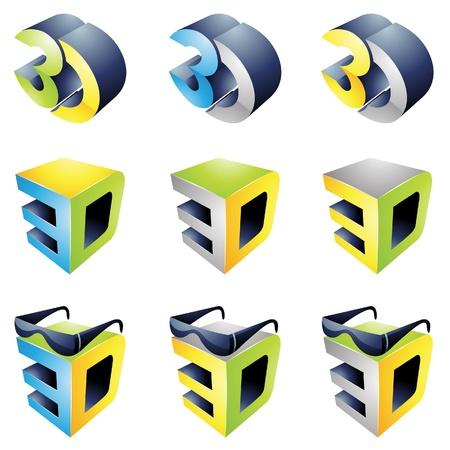 3D-kijkervaring logo's geïsoleerd op een witte achtergrond