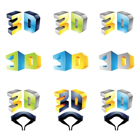3D Viewing Experience logos isolated on a white background Vector