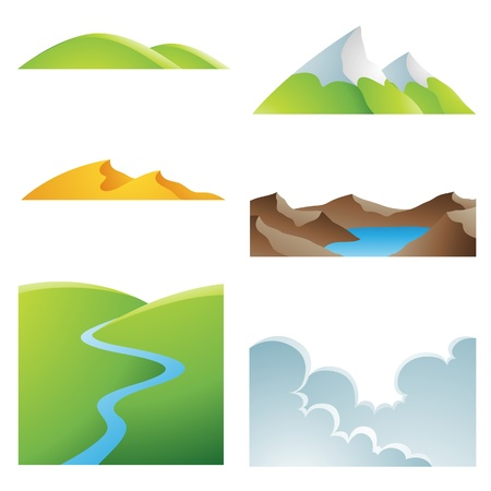 rivers mountains: Various earth landscapes and outdoor sceneries Illustration