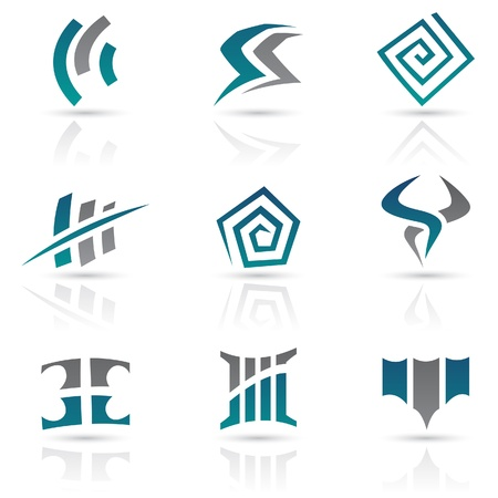 shield logo: Vector Illustration of Antique Style Abstract Icons Illustration