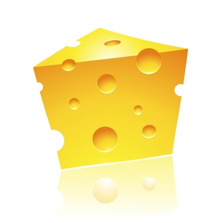 kaas: Vector illustratie van Cheddar Cheese met reflectie Stock Illustratie
