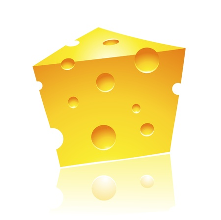 Vector Illustration of Cheddar Cheese with Reflection Vector