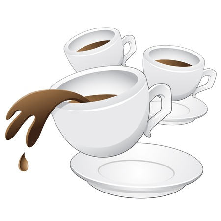 Vector illustration of Coffee Cups in motion Vector