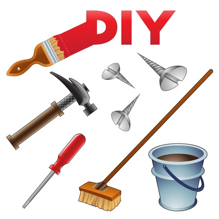 mop: Vector Illustration of Do it Youself Icons
