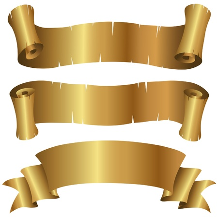 Vector Illustration of Curly Golden Banners Set