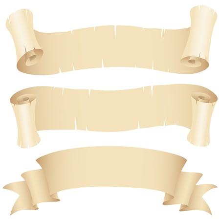 Ilustración de vector de conjunto de banderas de papel viejo