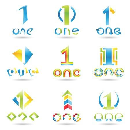 numero uno: illustrazione di icone per il numero uno isolato su sfondo bianco Vettoriali