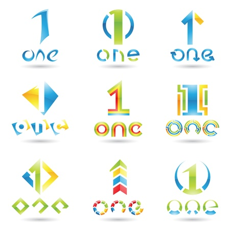 number one: ilustración de los iconos para el número uno aisladas sobre fondo blanco