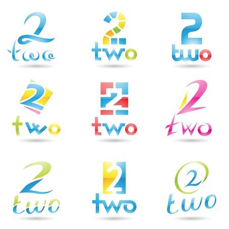 cyfra: ilustracja z ikonami, żeby zobaczyć numer dwa odizolowane na białym tle
