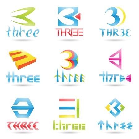 figure logo: ilustraci�n de los iconos para el n�mero tres aislados sobre fondo blanco