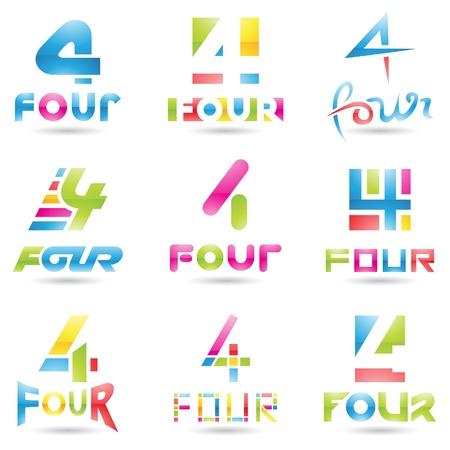 tipos de letras: ilustraci�n de los iconos para el n�mero cuatro aislados sobre fondo blanco Vectores