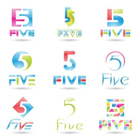 numbers abstract: ilustraci�n de los iconos para el n�mero cinco aislados sobre fondo blanco