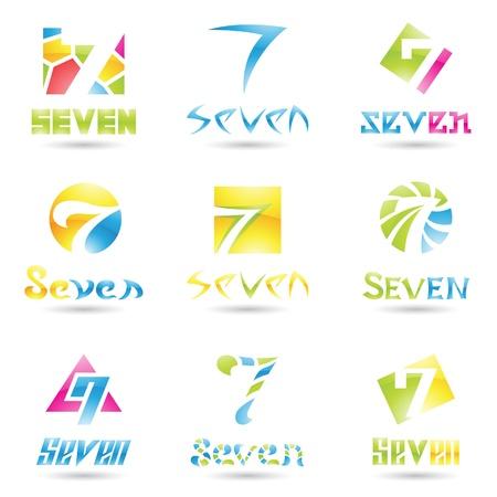 sept: illustration des ic�nes pour le num�ro sept isol� sur fond blanc