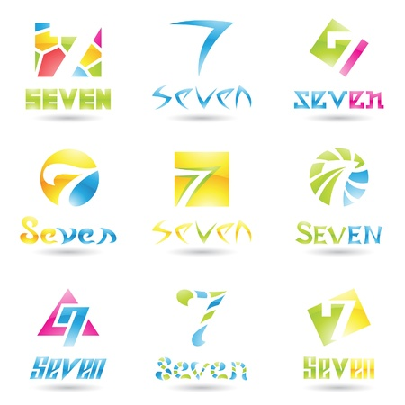 seven: illustration of Icons for number seven isolated on white background