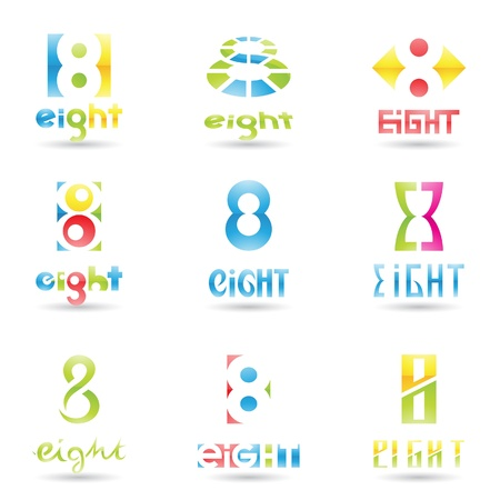 eight: illustration of Icons for number eight isolated on white background