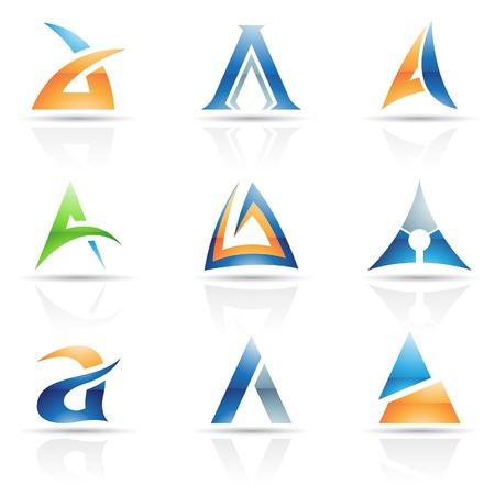 Ilustración vectorial de iconos abstractos sobre la base de la letra A
