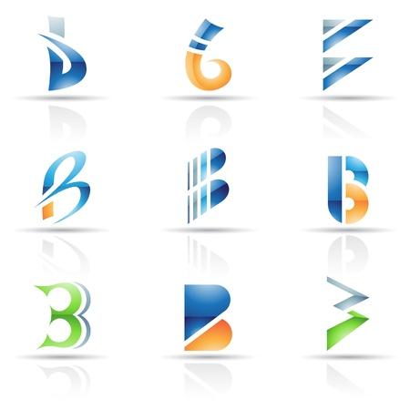 icons logo: Vector Illustration der abstrakten Symbole auf der Basis von Buchstaben B