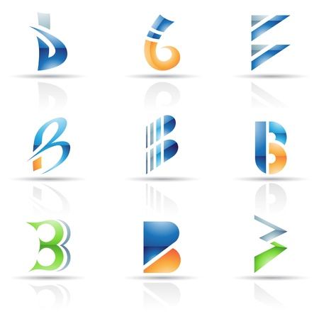 letter b: Vector illustration of abstract icons based on the letter B Illustration