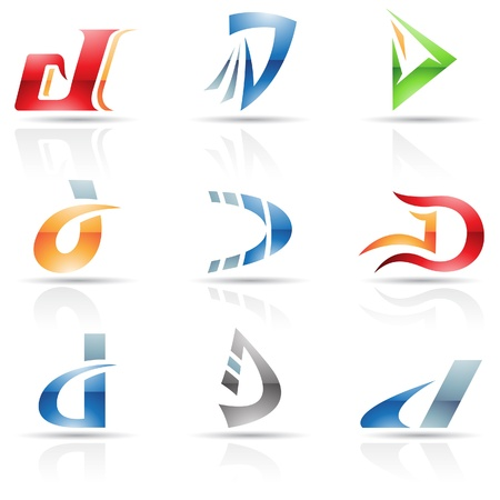 d: Vector illustration of abstract icons based on the letter D