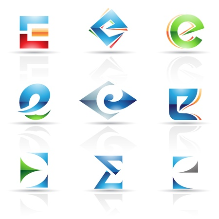 Vector illustration of abstract icons based on the letter E Vector
