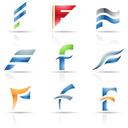 letter f: Vector illustration of abstract icons based on the letter F