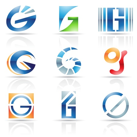 icons logo: Vector Illustration der abstrakten Symbole auf den Buchstaben G basiert Illustration